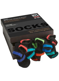 Twenty pairs of cotton rich socks in a handy storage box., H.I.S