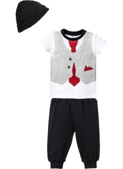 T-shirt+broek+muts (3-dlg. set), bpc bonprix collection, wit/zwart