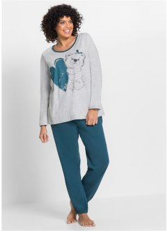 Pyjama, bpc bonprix collection, blauwpetrol met print
