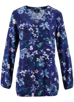 Blouse, bpc bonprix collection, middernachtblauw gebloemd