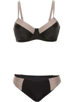 Beugelbikini minimizer (2-dlg. set), bpc bonprix collection, zwart/olijfgroen