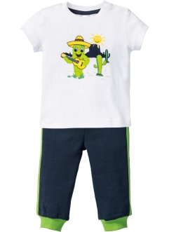T-shirt+sweatbroek (2-dlg. set), bpc bonprix collection, wit/donkerblauw