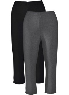 Caprilegging (set van 2), bpc bonprix collection, antraciet gemêleerd+zwart
