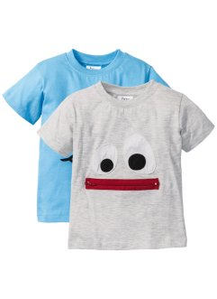 T-shirt (set van 2), bpc bonprix collection, ecru gemêleerd+Alpenblauw