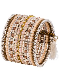 Armband, bpc bonprix collection, zalmkleur/wit/lichtlimoen