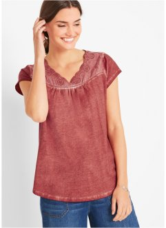 Cold dyed T-shirt met broderie anglaise, bpc bonprix collection