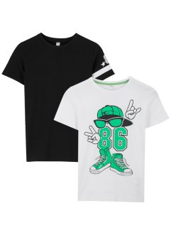 T-shirt met print (set van 2), bpc bonprix collection