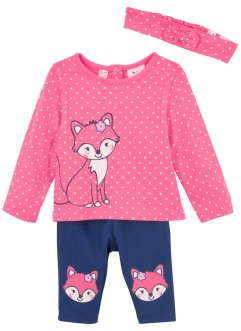 Babyshirt, legging en haarlint (3-dlg. set), biologisch katoen, bpc bonprix collection