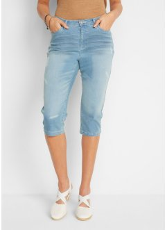 Boyfriend capri stretch jeans in used look met comfortband, bpc bonprix collection