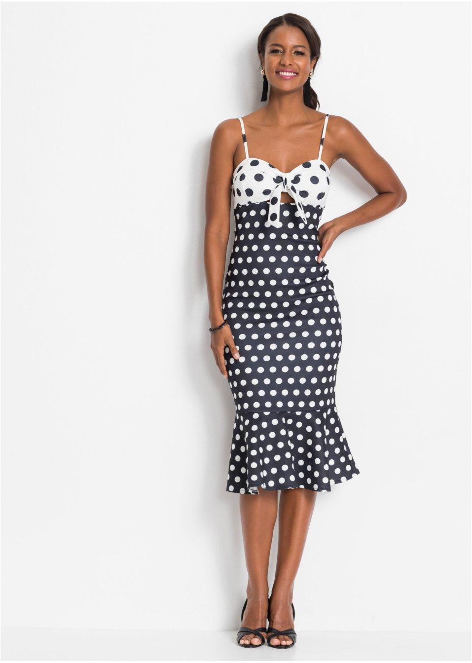 8fb3707604e099 Jurk zwart wit gestippeld - BODYFLIRT boutique koop online - bonprix-fl.be