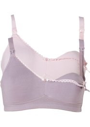Voedingsbeha (set van 2), bpc bonprix collection, roze+mat lila
