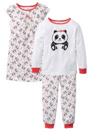 Pyjama+nachthemd (3-delig), bpc bonprix collection, kreeftrood/wit