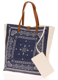 Shopper, bpc bonprix collection, blauw/wit