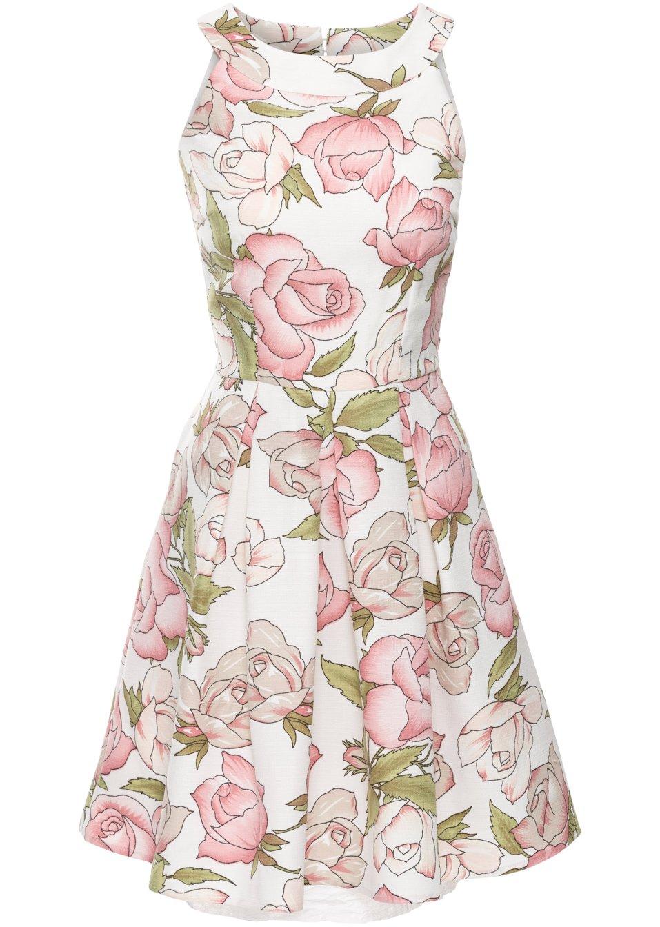 jurk wit roze gebloemd dames bonprix. Black Bedroom Furniture Sets. Home Design Ideas